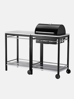 Charcoal grill with cart, stainless steel