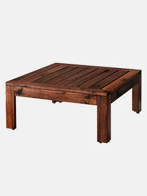 Table/stool section, outdoor, brown stained