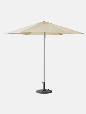 Umbrella with base, tilting beige, gray